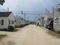 American Flags Flying In Ocean Beach Nj