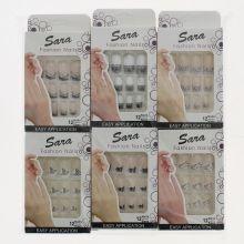 Faux ongles en plastique imprimé motif noir et blanc