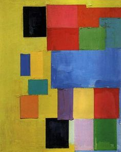 """Hans Hoffman, Pastorale, 1958  """"Push & Pull"""".  Hoffman, came to the US from Germany, and was a teacher who influenced Lee Krasner, Helen Frankenthaler, and Wolf Kahn--prominent abstract expressionists in the US."""