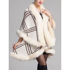 Faux Fur Collar Plaid Cape Sleeve Coat (76 AUD) ❤ liked on Polyvore featuring outerwear, coats, white fake fur coat, faux fur collar coat, long white coat, white coat and white faux fur coats