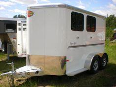 All aluminum 2 Horse Bumper Pull. Rubber Floor Mats, Rubber Flooring, Stock Trailer, Aluminum Trailer, Roof Vents, Two Horses, Sliding Windows, Aluminum Wheels
