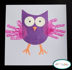Owl craft - this would be really cute to make for Kairi...we could make a collection of them with teeny baby hands all the way to big girl hands
