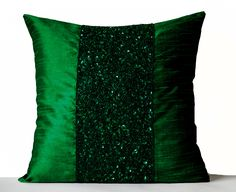 Throw Pillows -Emerald Green Silk Pillows -Sparkle Pillow covers -Green Beads Sequin Embroidered Pillow -Gift -New Year -Anniversary Orange Throw Pillows, Green Pillows, Decorative Throw Pillows, Glam Pillows, Couch Pillows, Accent Pillows, Sequin Pillow, Silk Pillow, Sequin Cushion