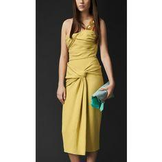 Burberry Draped Bustier Crêpe Dress