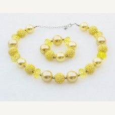Girls Chunky Bubblugum Yellow Gold Necklace Bracelet Set, Bubble Gum chunky necklace, Chunky Bead Necklace, Baby Necklace.