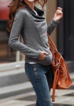 Grey Oblique Zipper Cardigan