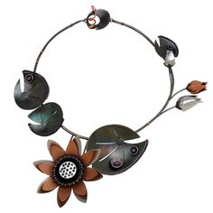 Art Jewelry, Chihiro Makio, Artist, Lotus necklace of oxidized sterling, rhodium and rose gold