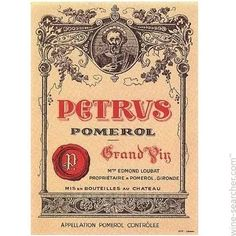 Petrus is the quintessential red wine. The 2010 reached again 100 pt  oints and cost on average $2,800 - The magnum bottle is $6,400