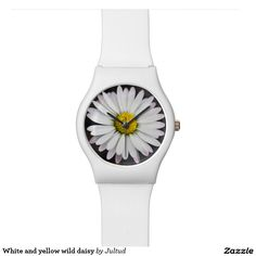 White and yellow wild daisy women's wrist watch #watches #gifts #fashion