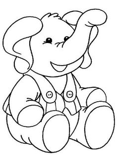 Elephant with clothing color page. Animal coloring pages. Coloring pages for kids. Thousands of free printable coloring pages for kids! Elephant Coloring Page, Animal Coloring Pages, Coloring Book Pages, Coloring Sheets, Elephant Template, Animal Templates, Templates Free, Elephant Colour, Nick Jr