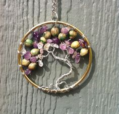 Purple Quartz Tree of Life Pendant Necklace by BohoBeachArtistry, $39.95