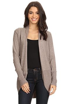 AD Womens Rounded Hem Open Front Knit Cardigan Sweater Mocha SmallMedium ** Learn more by visiting the image link.