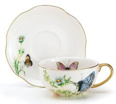 Porcelain Butterfly Teacup And Saucer Set With Gold Trim Fine Dining And Table Decor by Wings Of Grace Collection