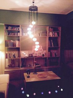 Library and Istanbul chandelier into the basement bedroom