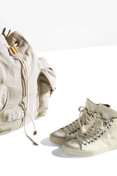 The Canvas Utility Rucksack and Leather High Top Trainers from the Burberry Brit White collection