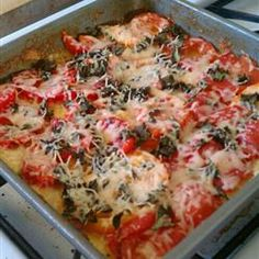 Baked Polenta with Fresh Tomatoes and Parmesan Allrecipes.com