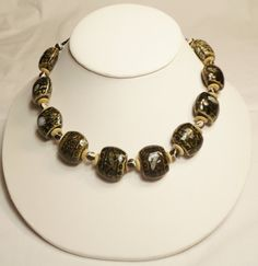 Necklace Black and Brown Ceramic Large Chunky Chunky by CindyDidIt, $23.00