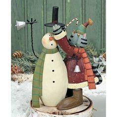 *Cat w/Snowman (Williraye Figurine)