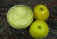 sorbet-minute-aux-pommes-thermomix.php 500g de pommes congelées la veille coupées en dés (Granny Smith) 80 g de sucre en morceaux 1 blanc d'oeuf 1 cs de calvados ( ou de manzana verde)