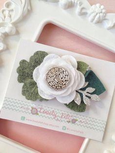 White Single Felt Flower Headband. White Flower by LovelyFeltShop