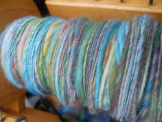 Fruit Loop colored thick and thin yarn! #handspinning #rainbow #yarn #craft