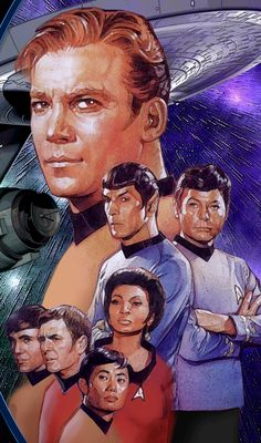 "Starfleet Captain James T. Kirk's...1st officer Spock...Dr. Leonard McCoy...Communications officer Uhura...Chekov...Chief EngineerScott ""Scotty""...Sulu"