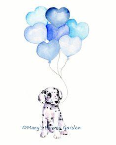 Dalmatian and Balloons, Boy's Nursery Decor, Puppy Nursery Print, Blue Nursery, Puppy Wall Decor, Dalmation Painting, Boy's Room