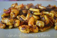 Recette express préparée en 30 mn. Calamars et crevettes à la plancha. Kaderick en Kuizinn, le blog de la cuisine avec des produits frais.