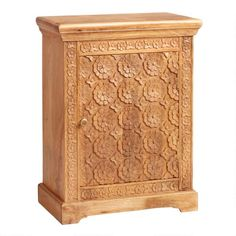 Natural Floral Carved Wood Cabinet | World Market Decoration, Art Decor, Decor Ideas, Room Decor, Foam Seat Pads, Eclectic Chairs, Wood Bookshelves, Wooden Ceilings, Hand Carved