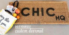 Check out our DIY Custom Doormat! The Chic Site, Rachel Hollis, Custom Mats, Gold Diy, Home Decor Accessories, Better Life, Signage, Doormat, Diy Home Decor