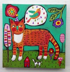 Folk Art Cat Painting on Canvas by evesjulia12 on Etsy