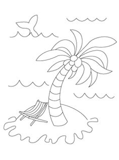 chicka summer coloring pages - Palm Tree Beach Coloring Page