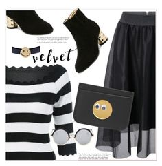 """""""golden smile"""" by paculi ❤ liked on Polyvore featuring Sophie Hulme, white, black and stripes"""