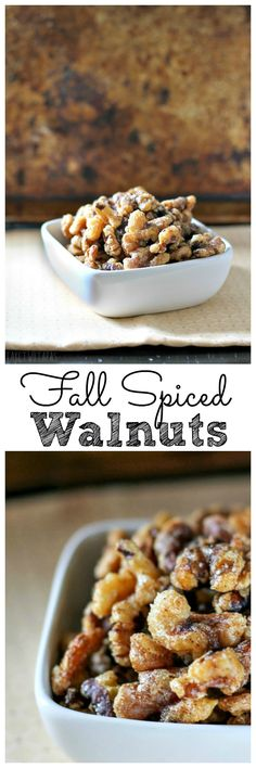 These crispy Fall Spiced walnuts are toasted and covered with a light and crispy sugar coating that is spiced with Fall spices. Perfect for the holidays! Spiced Walnuts Recipe, Spiced Nuts, Candied Walnuts, Appetizer Recipes, Snack Recipes, Cooking Recipes, Appetizers, Candy Recipes, Gourmet