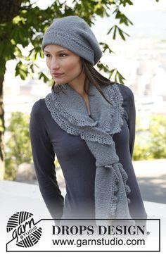 """Béret et écharpe DROPS au point mousse, avec bordures ajourées, en """"BabyAlpaca Silk"""". ~ DROPS Design"""