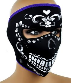 Dia De Los Muertos Neoprene Protective Full Motorcycle Riding Mask Halloween