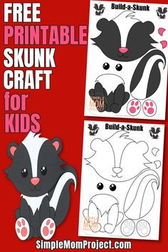 Are you looking for a fun forest themed skunk craft for your kids? Here's a free printable skunk craft activity, which is sure to bring a smile to their faces! This diy Skunk craft is an easy way to teach your kids the letter S whilst having fun making a cute paper skunk..  Complete with FREE printable Skunk craft templates, this is a perfect diy idea for kids of all ages from toddlers Forest Animal Crafts, Animal Crafts For Kids, Animal Projects, Paper Crafts For Kids, Crafts For Kids To Make, Toddler Crafts, Skunk Craft, Raccoon Craft, Craft Activities