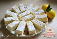 Régimódi citrom szelet Feta, Camembert Cheese, Party Time, Deserts, Dessert Recipes, Food And Drink, Lemon, Dairy, Cooking Recipes