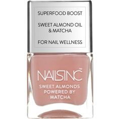 NAILS INC Sweet Almond Powered By Matcha nail polish 14ml (£14) ❤ liked on Polyvore featuring beauty products, nail care and nail polish