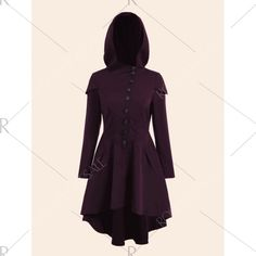 915fb4258112 Plus Size Lace Up High Low Hooded Coat - Purplish Red Xl
