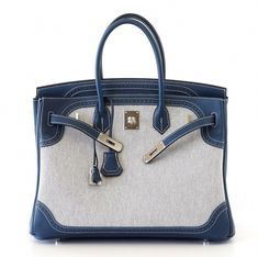 1073718302 Hermes - Ghillies Birkin bag in canvas and blue leather.  Hermeshandbags Hermes  Handbags
