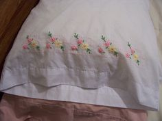 pillowcase with stencil already marked on it. Now I need to make the second one! Hand Embroidery Videos, Embroidery Patterns, Lazy Daisy Stitch, Pillowcase Pattern, Embroidered Pillowcases, Baby Patterns, Bed Sheets, Hand Sewing, Needlework