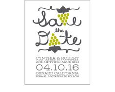 Grape Bunch Letters Save the Dates - perfect for a wine-themed or vineyard wedding! We offer 5 free wedding save the date card samples, so order yours today! - Wine Country Occasions, www.winecountryoccasions.com