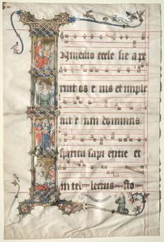 c. 1330 leaf from Second Master the German Wettinger Gradual: Historiated I with Scenes from the Life of St. Augustine - ink, tempera, and gold on parchment (22 3/4 x 15 1/16 in.) - Cleveland Museum of Art 1949.203