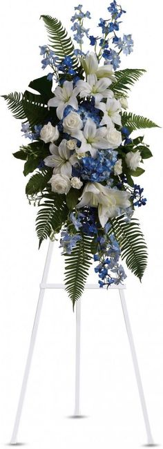Pinner said:Ocean Breeze Spray. I am going to create this tomorrow for a funeral visitation in purple and white. I hope I can pull off the same artistry as te telegflora bouquet (nice for either side of the altar) Arrangements Funéraires, Funeral Floral Arrangements, Blue Flower Arrangements, Church Flowers, Funeral Flowers, Wedding Flowers, Casket Flowers, Funeral Sprays, Memorial Flowers