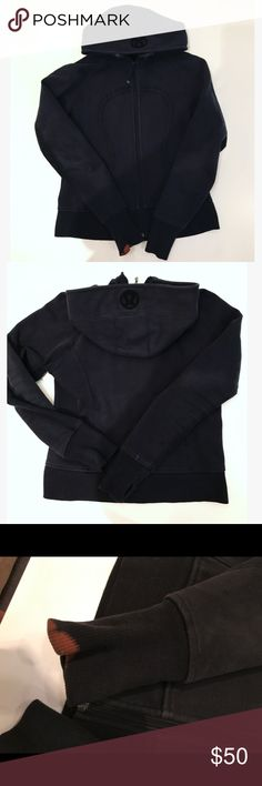 Lululemon athletica Black Scuba Hoodie See pictures for condition. Bleach stain on sleeve. lululemon athletica Jackets & Coats
