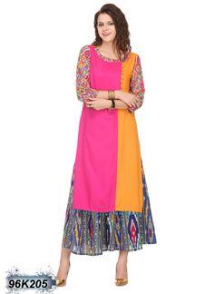 Multi Adorning Coloured Rayon Printed Kurti