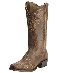 """Complete your gorgeous cowgirl look by wearing these fashionable women's Ardent boots. These terra brown boots stand out with floral embroidered patterns on the feet and shafts. Fully lined and cushioned footbeds provide much comfort for long wear. Dip openings and pull tabs allow for easier pulling on. Leather outsoles and square toes combine for added Western flavor finish.</p><p class=""""MsoNoSpacing"""">Co-founded in 1993, Ariat was founded to create the most ..."""