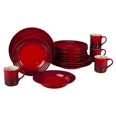 Le Creuset 16 Piece Dinnerware Set in Cherry....on sale too!