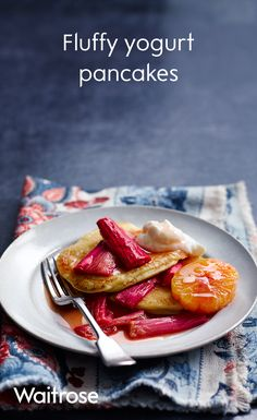 For a twist on classic pancakes, try our fluffy yogurt recipe and serve with rhubarb compote and extra yogurt on the side!